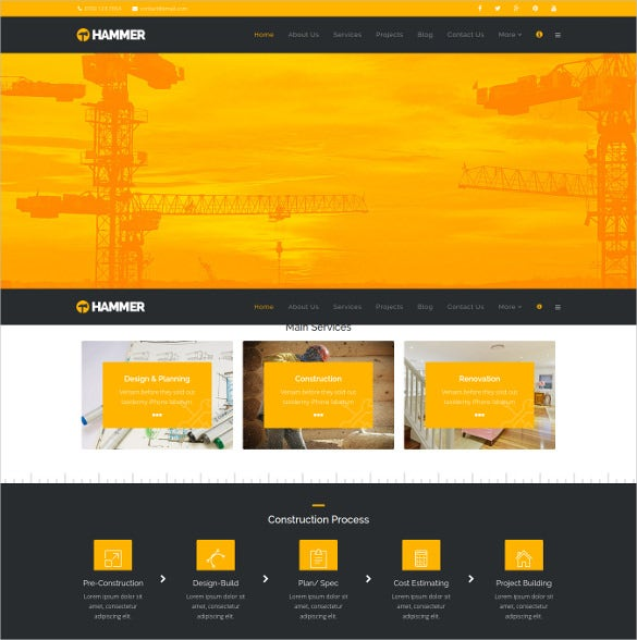 hammer construction building business renovation industry joomla template
