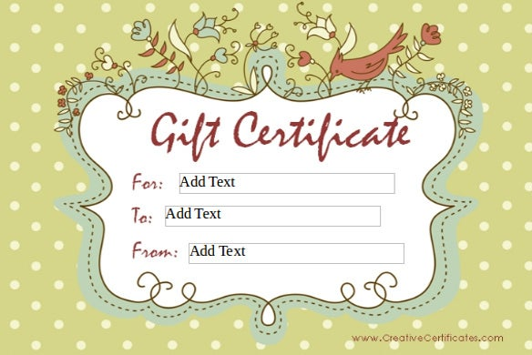 Homemade Gift Certificate Templates   Free Word Pdf Documents