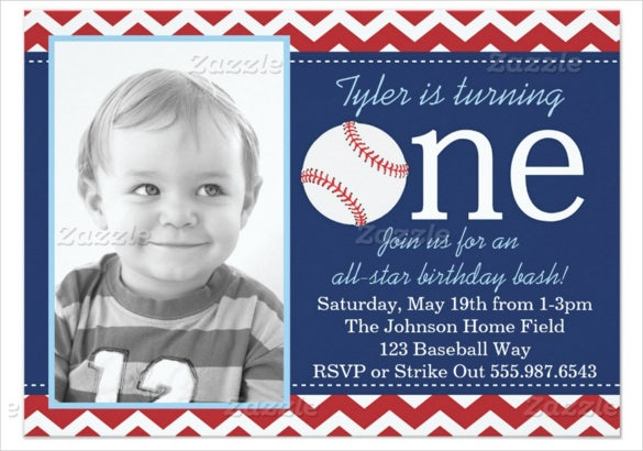 blue baseball birthday bash invitation with photograph