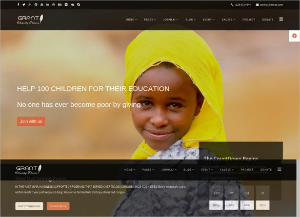 joomla charity for education template