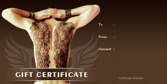 Homemade Tatoo Gift Certificate Template Free Download