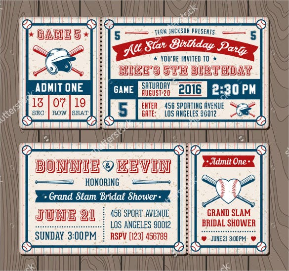 invitation tickets for baseball birthday themed events