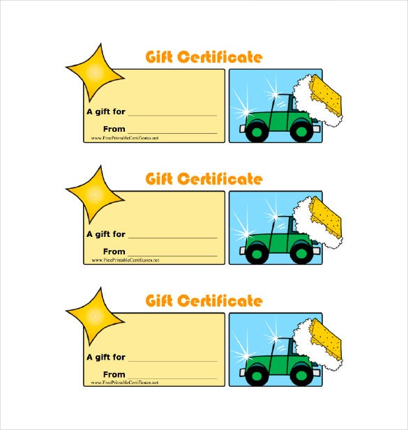 homemade car wash gift certificate pdf template free download