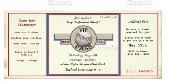 Baseball Birthday Party Pass Invitation Paper Card