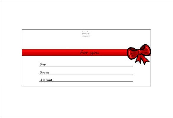 Homemade Red Bow Gift Certificate Word Template Free