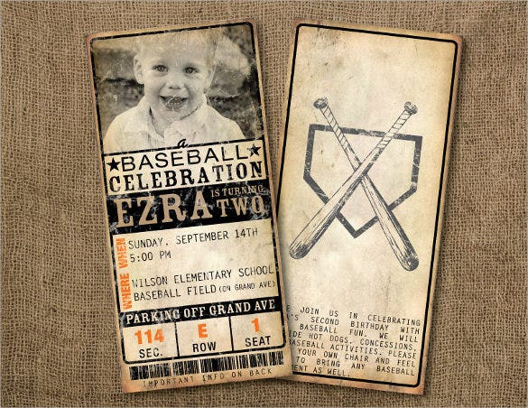 custom vintage baseball ticket birthday invitations