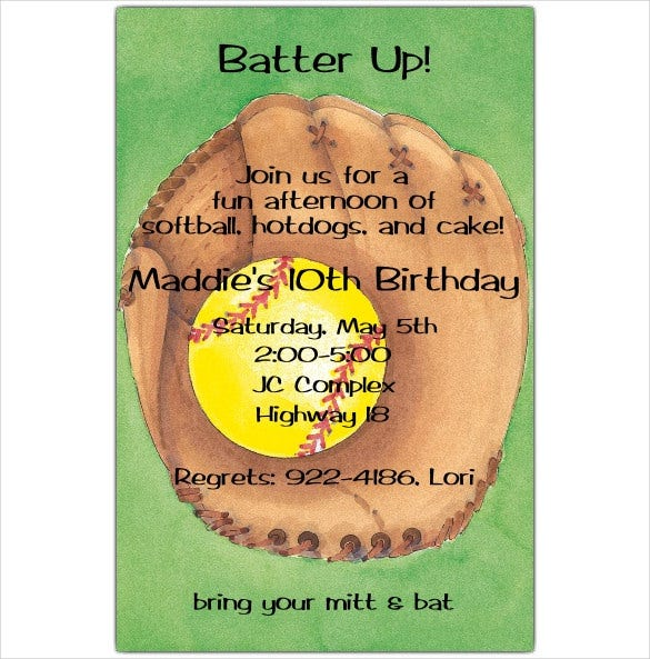 green colour baseball birthday invitation templates