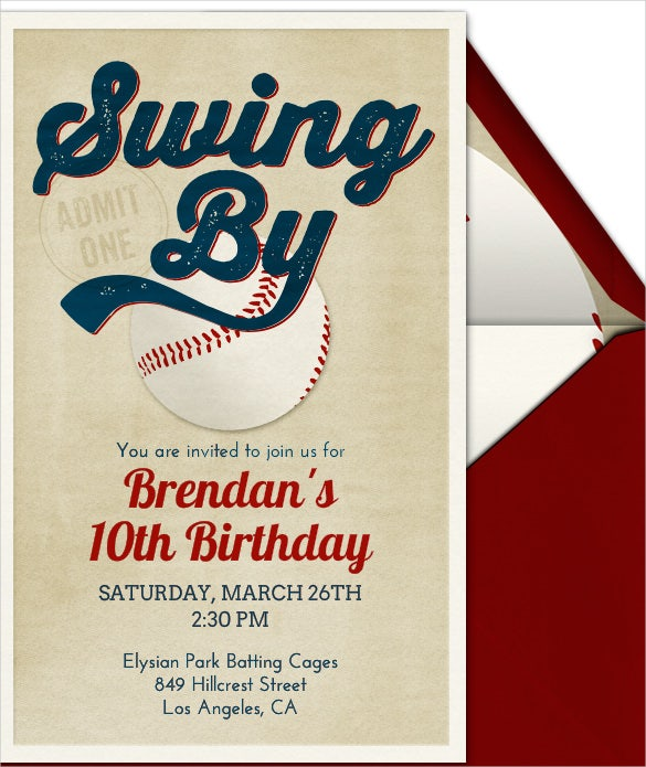 elegant and beautiful baseball birthday invitation with envelope