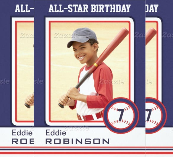 Blue And White Baseball Birthday Card Invitation