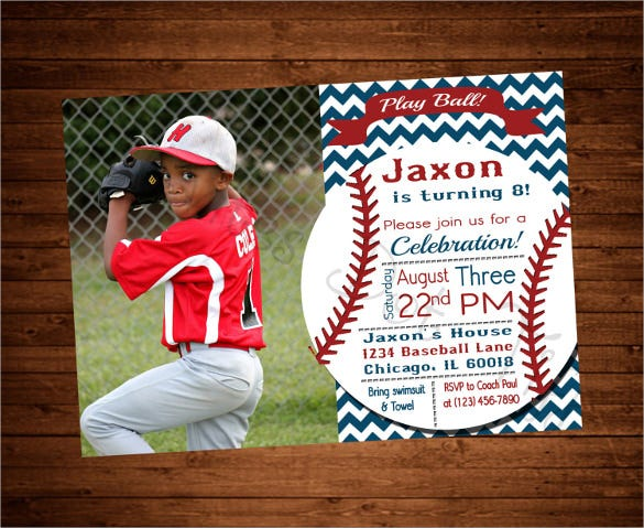 Vintage Themed Printable Baseball Birthday Invitation With Picture