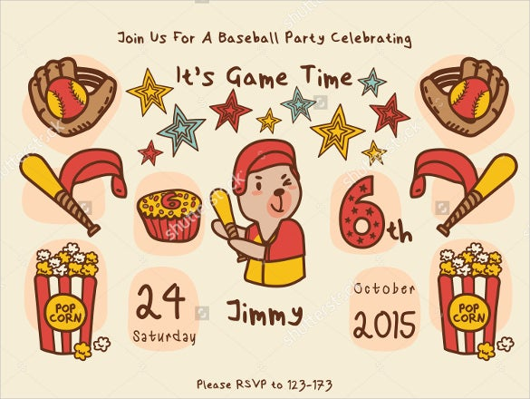 animals themed baseball birthday party invitation card template