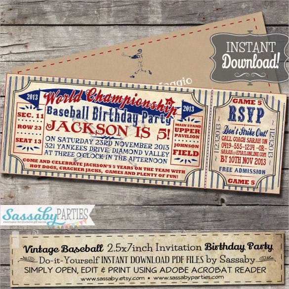 Vintage Baseball Birthday Invitation Editable Printable