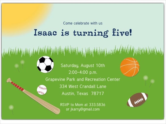 sports themed baseball birthday party invitations for kids