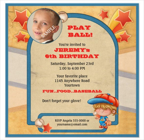 Boys Custom Baseball Birthday Invitation