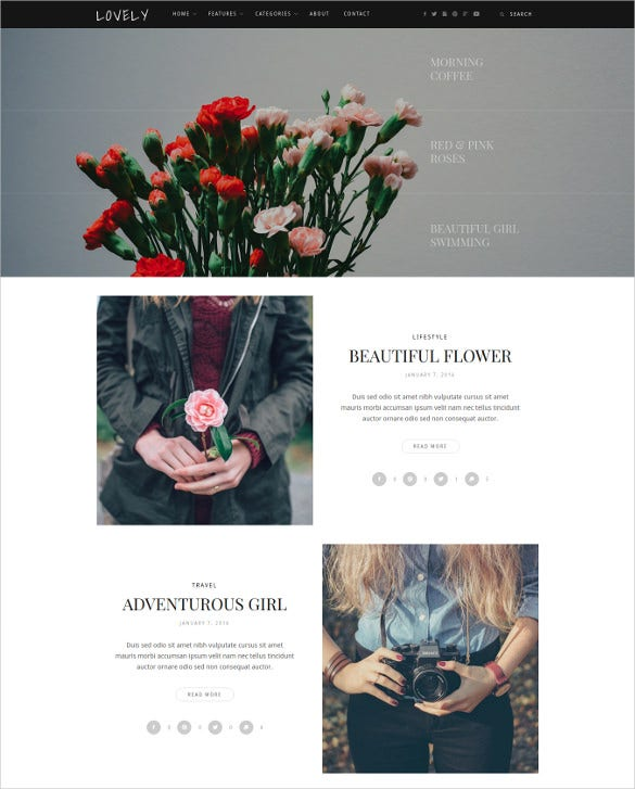 lovely elegant simple blog theme