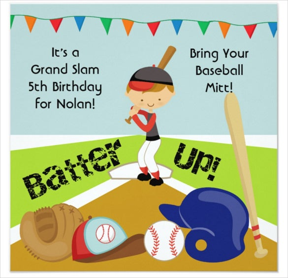 animated baseball birthday invitation for boys