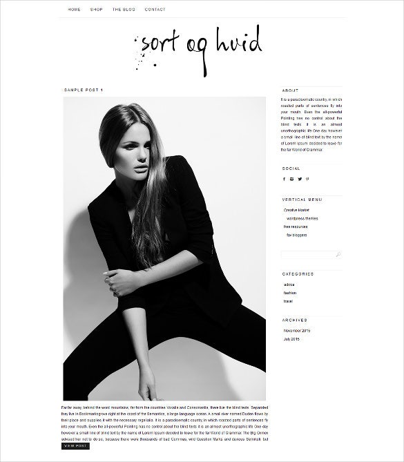 sort og hvid wordpress blog theme