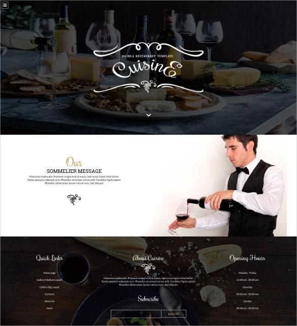 cuisine joomla restaurant blog template