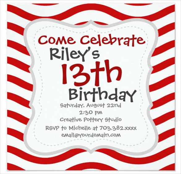 fun red and white wavy lines stripes email birthday invitation