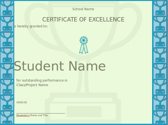 Powerpoint certificate template 8 free ppt pptx documents certificate of excellence template for powerpoint yelopaper Image collections