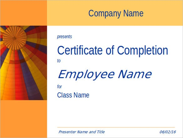 certificate for training completion template for powerpoin