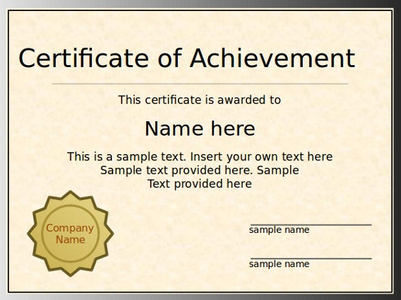 Powerpoint Certificate Template   Free Ppt Pptx Documents