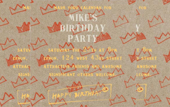 paper crowns email birthday invitation for free