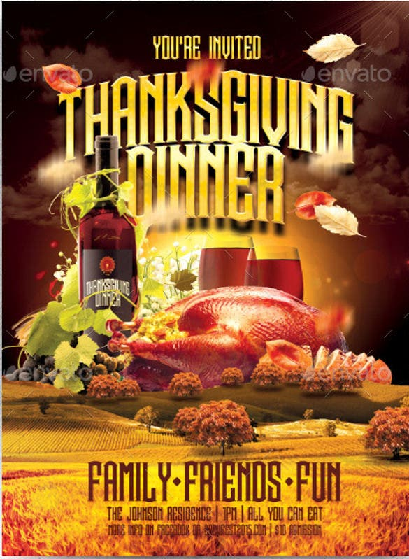 Flyer Invitation Templates Free Orderecigsjuiceinfo - Thanksgiving party invitation templates