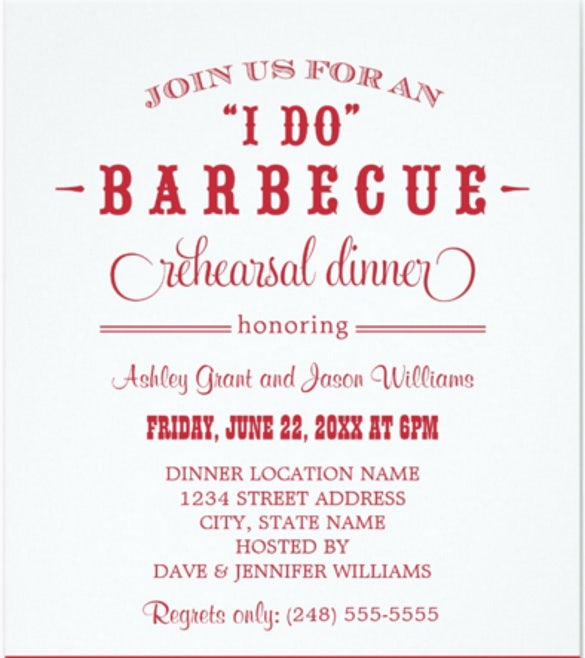 Wedding Rehearsal Dinner Invitation Casual BBQ  Dinner Invitation Templates Free