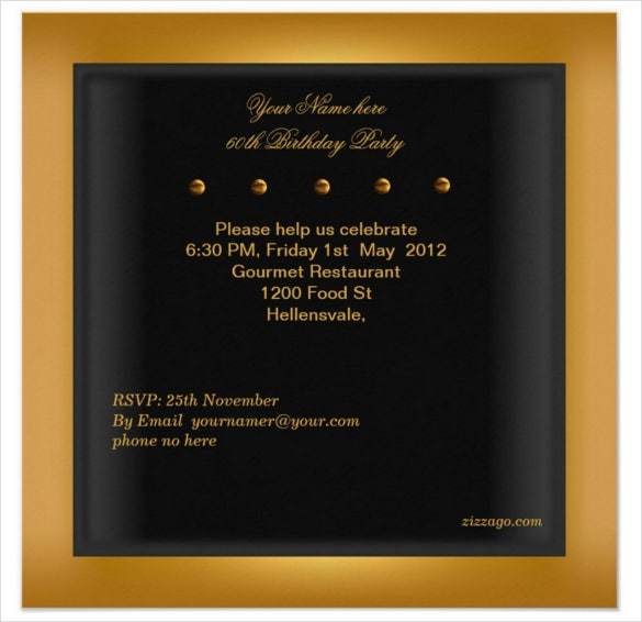 mens gold black email birthday invitation
