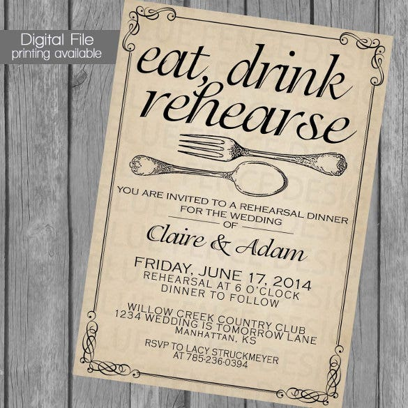 printable rehearsal dinner invitation template wedding dinner dinner party fork spoon