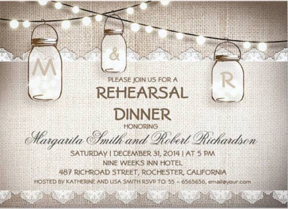 Dinner Invitation Templates Free Sample Example Format - Free mason jar wedding invitation templates