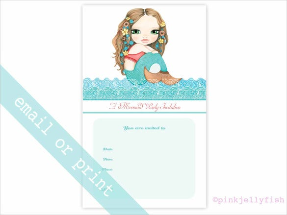 mermaid aqua turquoise email birthday invitation