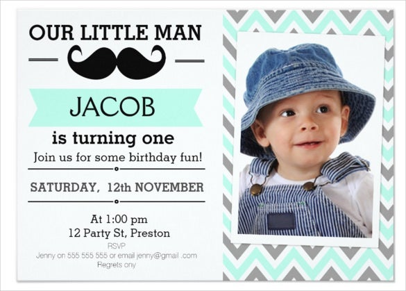 chevron mustache email birthday invitation with custom photox