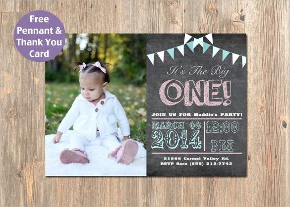 pennant chalkboard email birthday photo invitation printable
