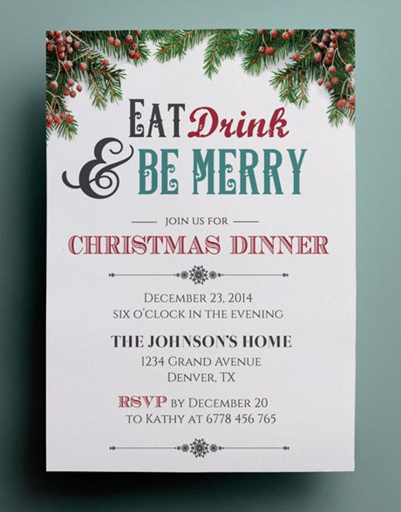 Lovely Christmas Dinner Invitation Template, Custom Christmas Invitation Template  Free Dinner Invitation Templates Printable