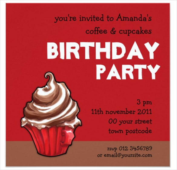 red coffee cupcake email birthday invitation
