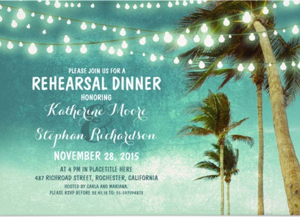 teal ombre beach rehearsal dinner string lights paper invitation card