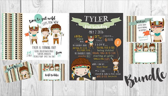 tribal boys email birthday party printable set