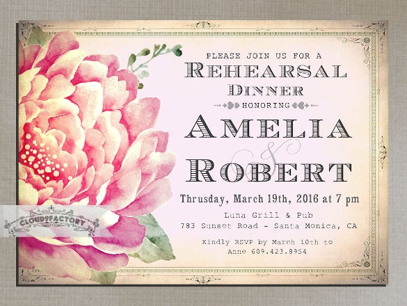 shade of pink rehearsal dinner invitation