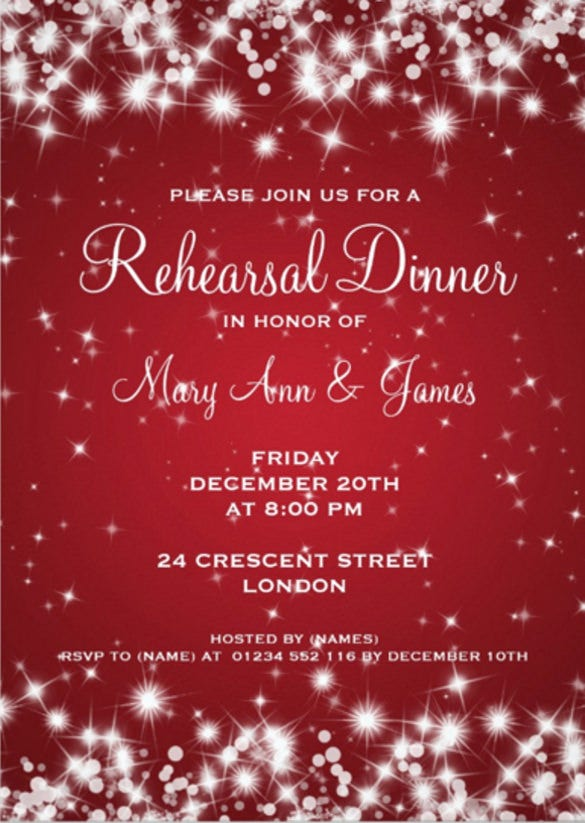 wedding rehearsal dinner winter sparkle red 5x7 paper invitation card