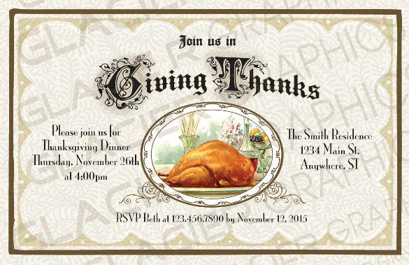 giving thanks thanksgiving dinner invitation thanksgiving party invitation