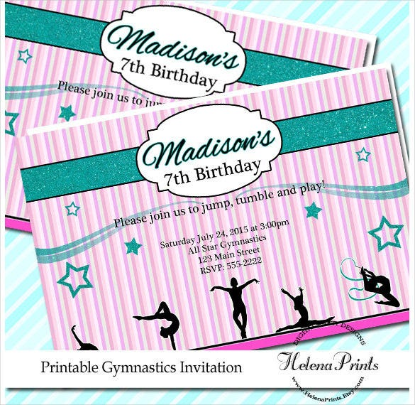 gymnastics email print birthday invitation