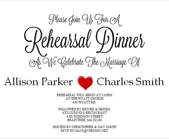 DIY Printable Rehearsal Dinner Invitation Beautiful  Dinner Invitation Templates Free