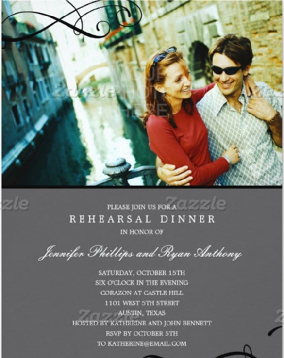 stylish scrolls rehearsal dinner or wedding shower 5x7 paper invitation card