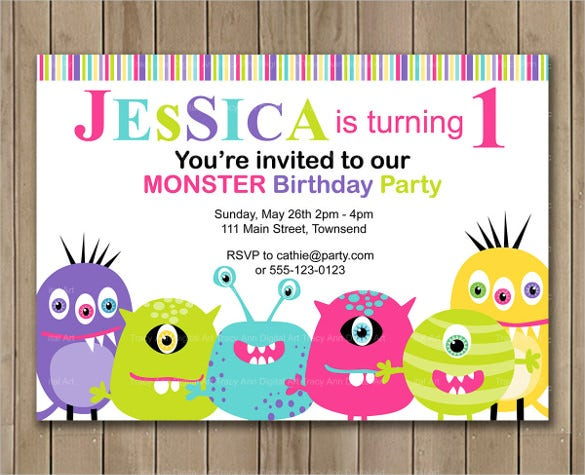 monster party digital email birthday invitation