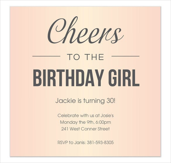 simple elegant pink birthday invitation for girls
