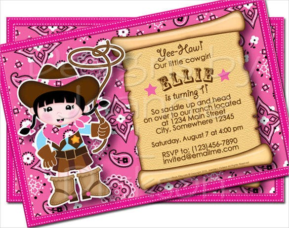 cowgirl pink email birthday printable invitation