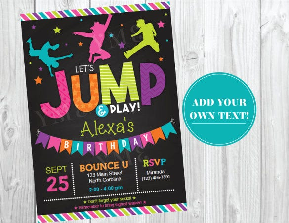 trampoline teenage birthday invitation