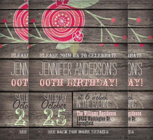 rustic pink flower teenage birthday invitation